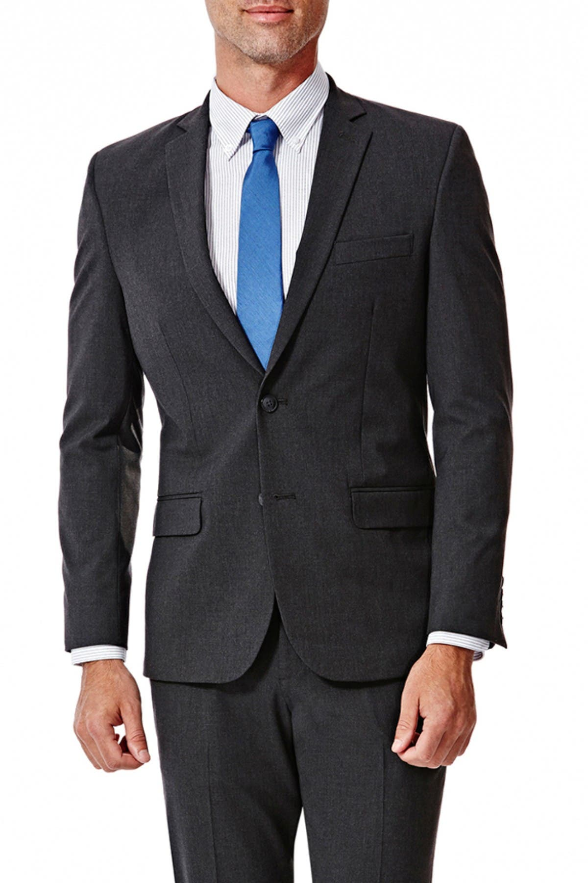 Image of HAGGAR Gabardine 4-Way Stretch Slim Fit 2-Button Suit Separate Coat