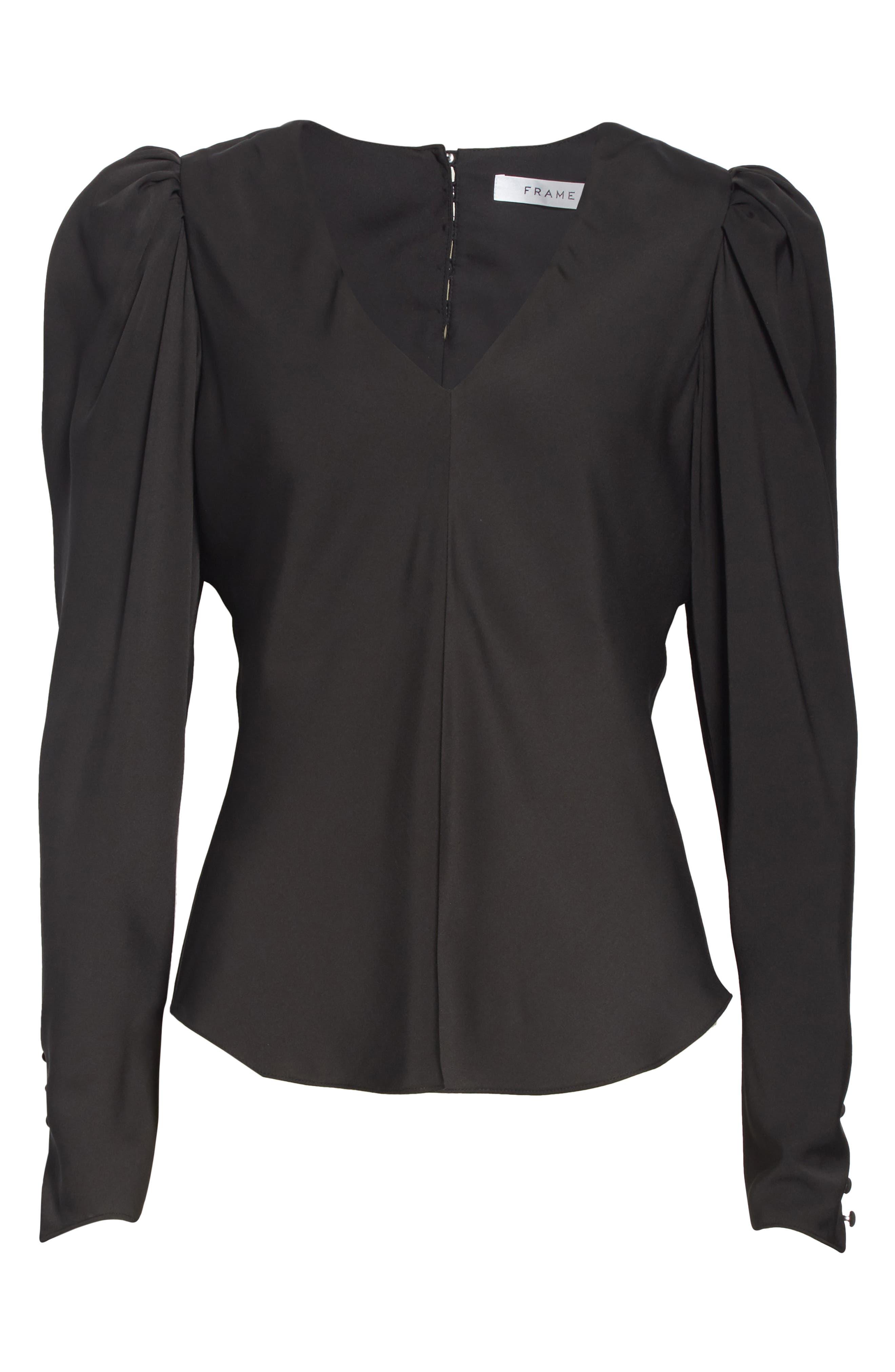Frame Tops Shirred Silk Long Sleeve Blouse