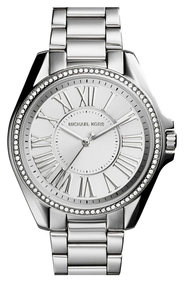 MICHAEL MICHAEL KORS Michael Kors 'Kacie' Crystal Bezel Bracelet Watch, 39mm, Main, color, 040