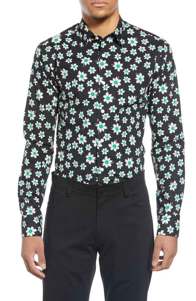 TIGER OF SWEDEN Slim Fit Floral Dress Shirt, Main, color, BLACK