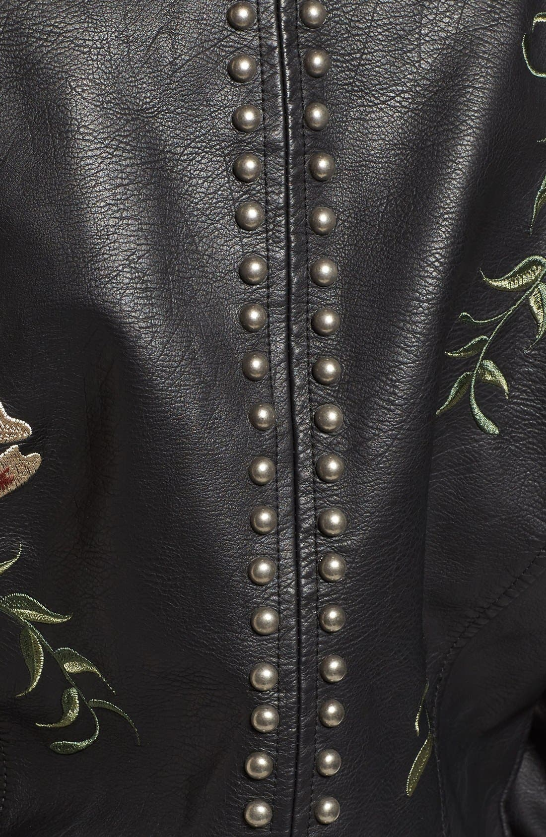 ,                             Embroidered Faux Leather Moto Jacket,                             Alternate thumbnail 3, color,                             001