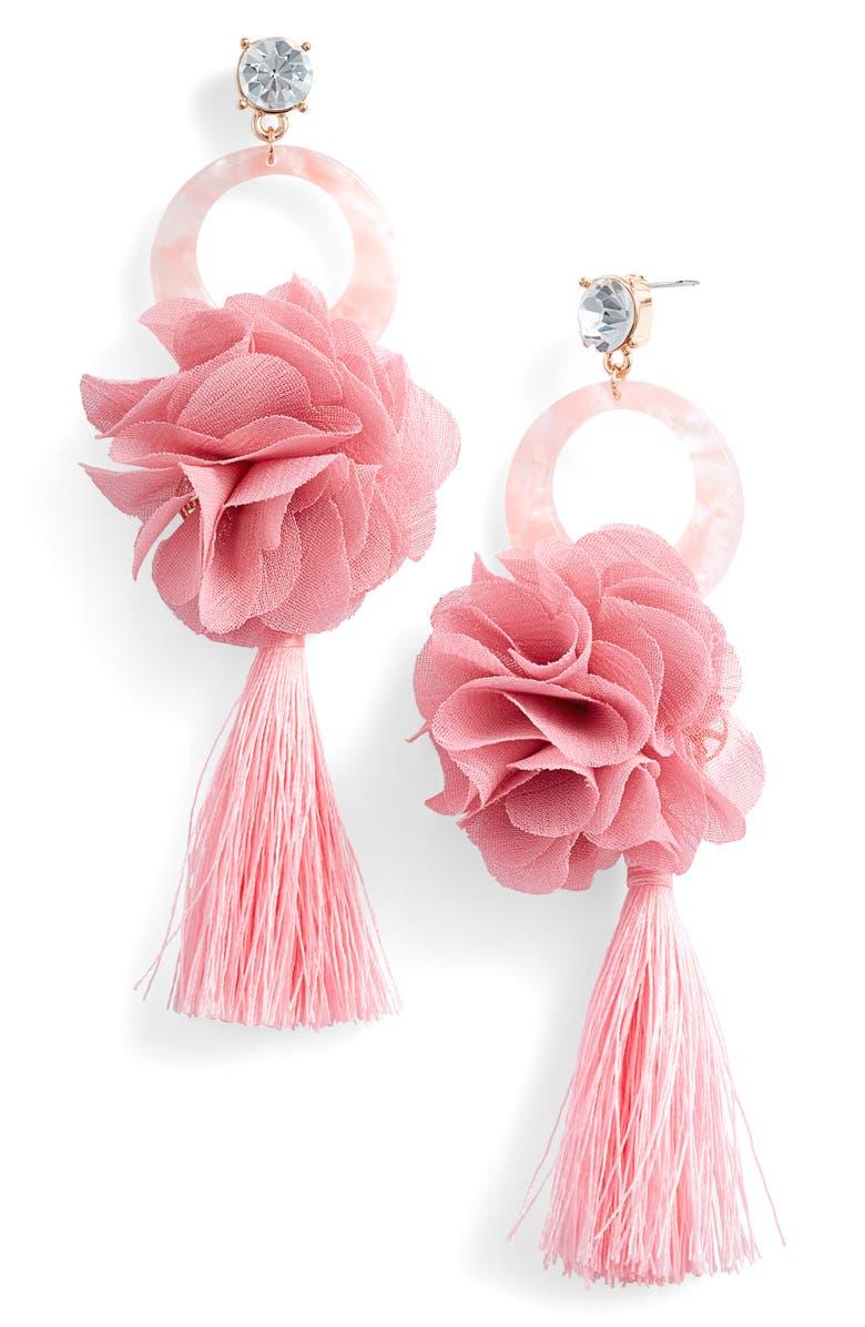 RACHEL PARCELL Flower & Tassel Drop Earrings, Main, color, 660