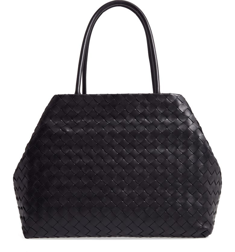 BOTTEGA VENETA Intrecciato Leather Shoulder Tote, Main, color, NERO/ SILVER