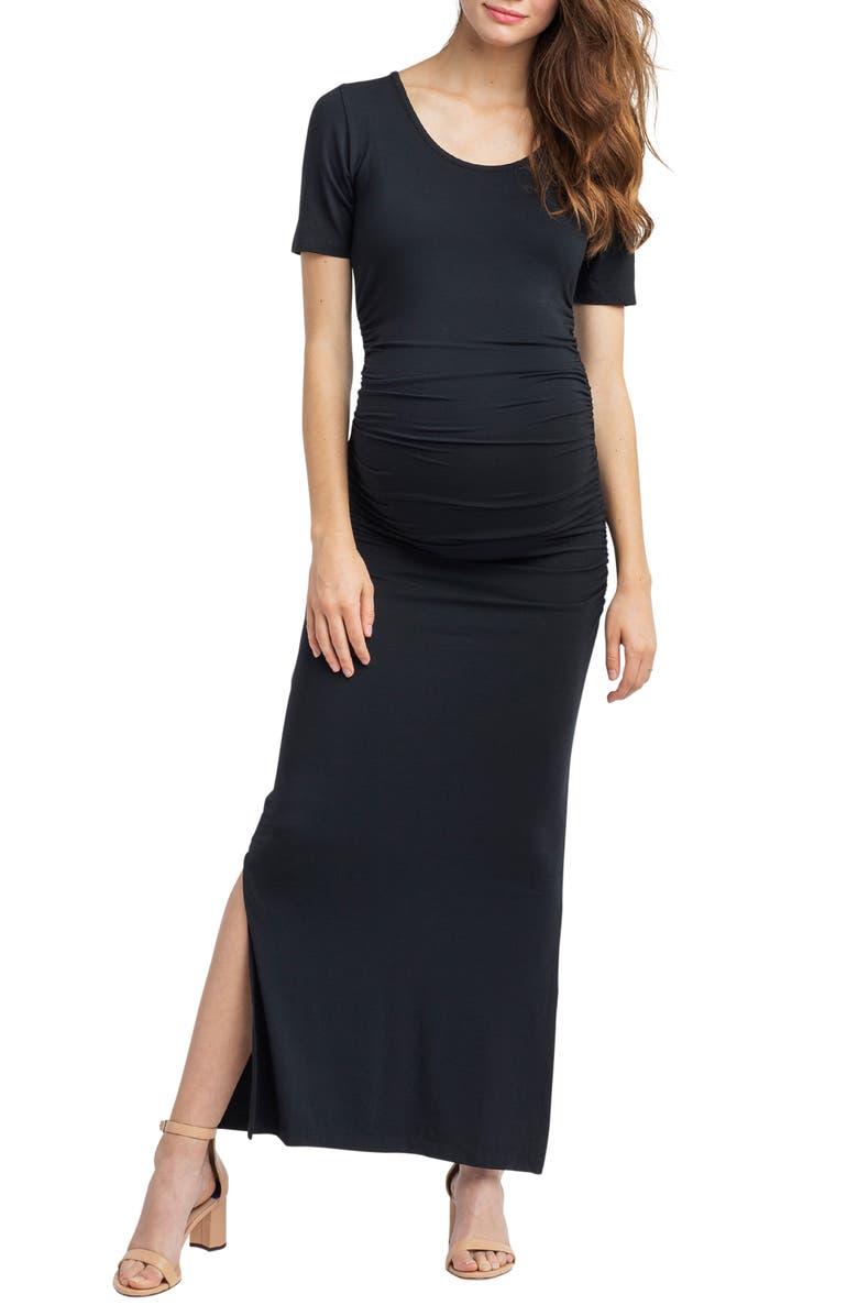 NOM MATERNITY Hugo Maxi Maternity Dress, Main, color, BLACK