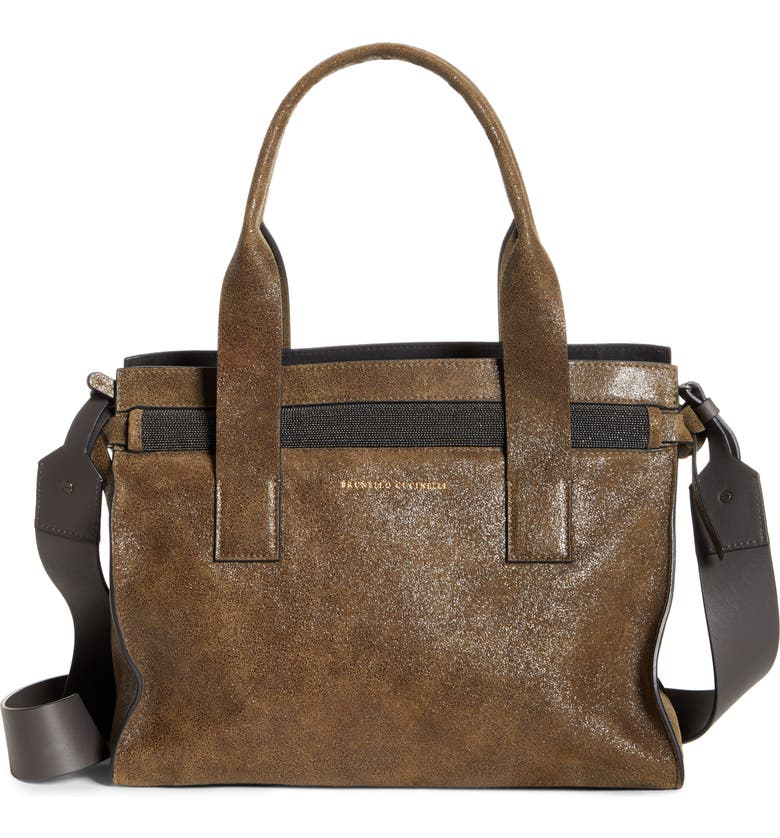 BRUNELLO CUCINELLI Monili Trip Leather Tote, Main, color, MILITARY