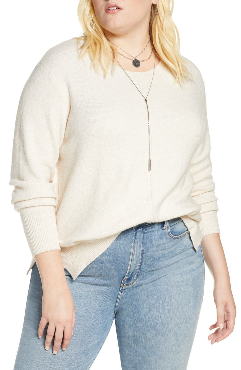 TREASURE & BOND Slouchy Crew Pullover, Main, color, HEATHER OATMEAL