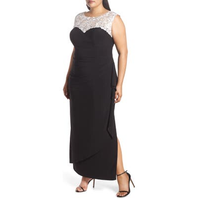 Plus Size Alex Evenings Embroidered Side Ruched Gown, Black