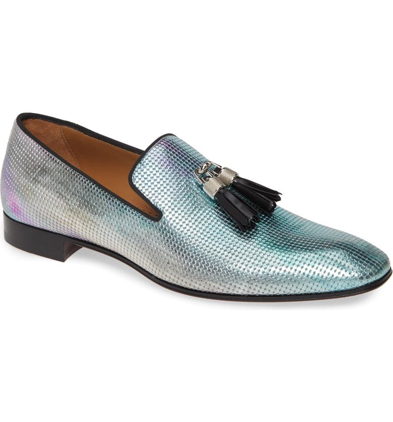 CHRISTIAN LOUBOUTIN Rivalion Flat Spec Pointillé Iridescent Tassel Loafer, Main, color, 714