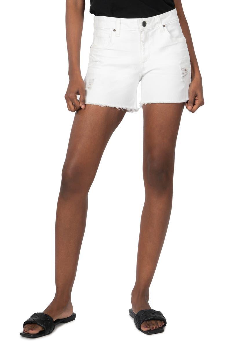 KUT FROM THE KLOTH Gidget Frayed Hem Denim Shorts, Main, color, OPTIC WHITE