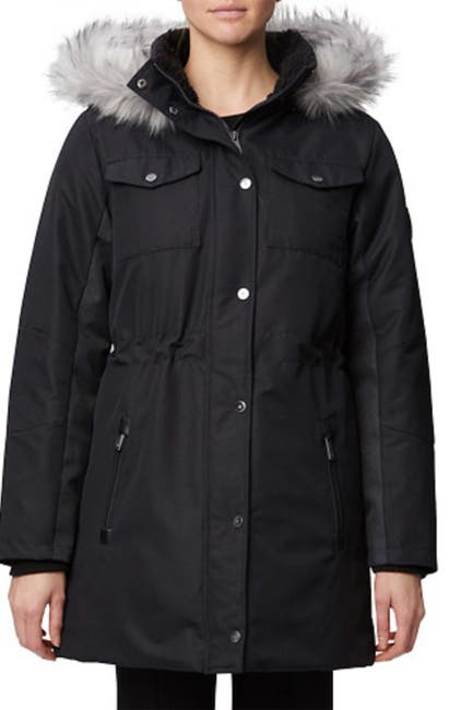Image of Rainforest Oxford Nylon Faux Fur Trim Faux Shearling Lined Thermoluxe Anorak Jacket