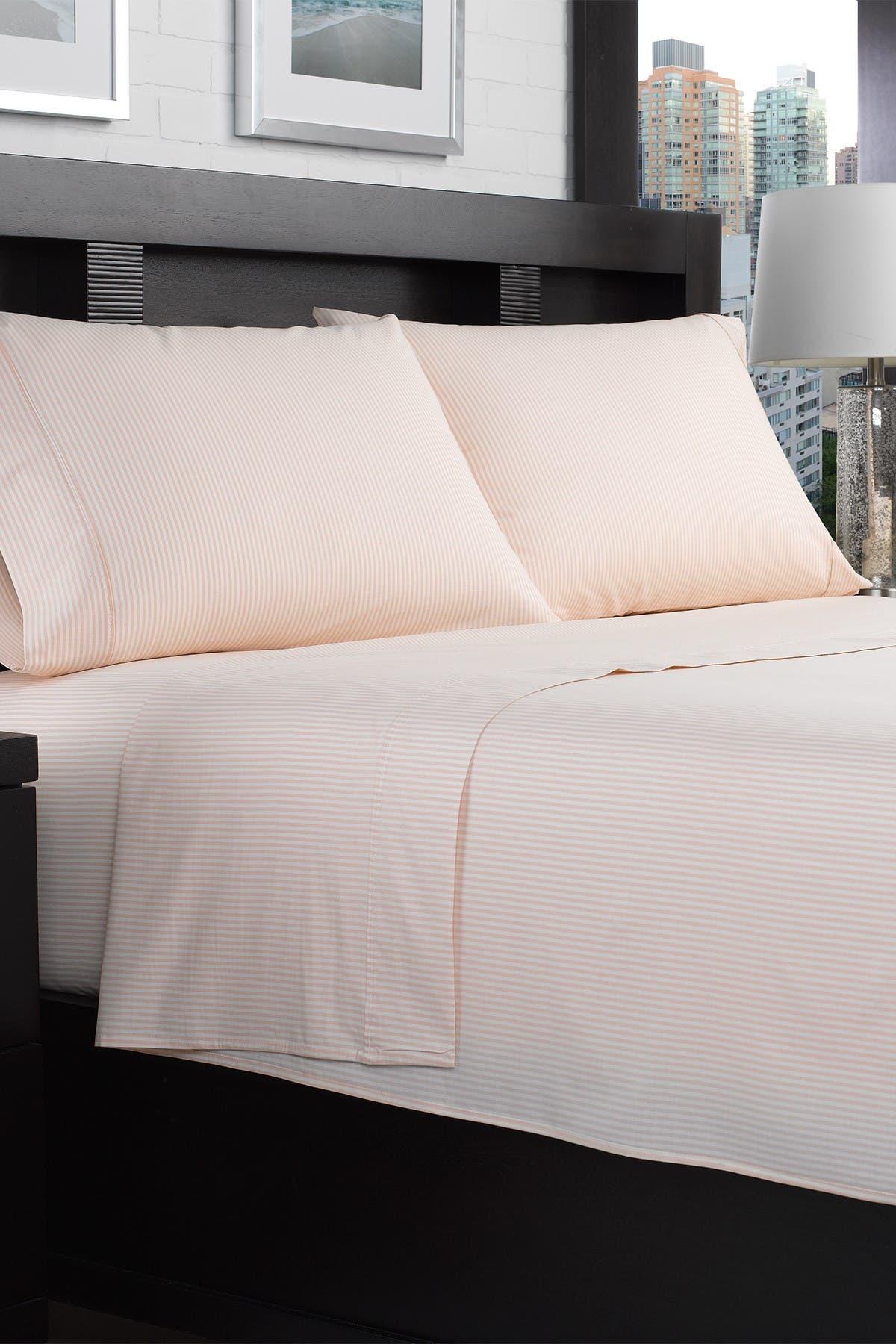 Image of Ella Jayne Home Stripe 200TC 100% Cotton Percale 4-Piece Full Sheet Set - Coral