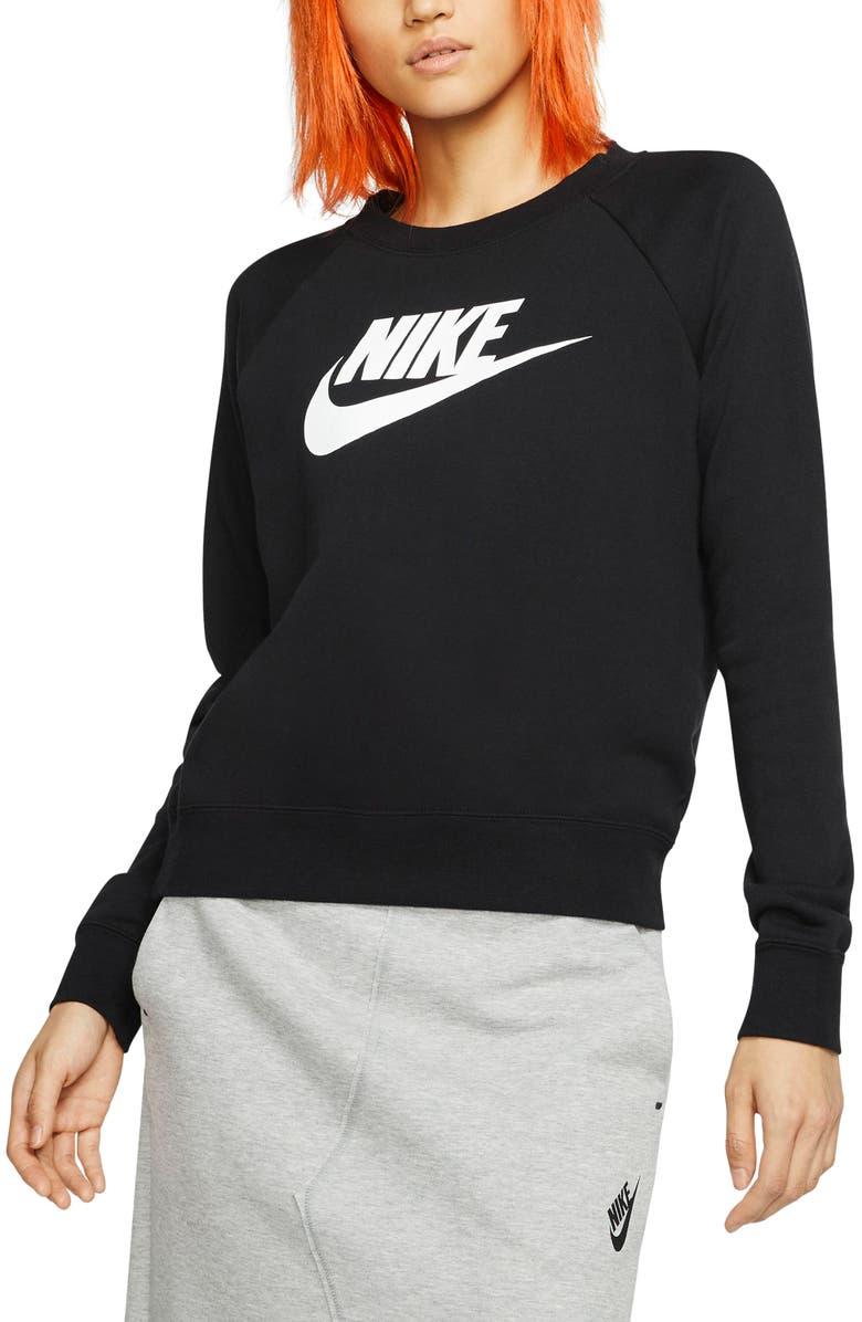 NIKE Sportswear Essential Fleece Sweatshirt, Main, color, BLACK/ WHITE