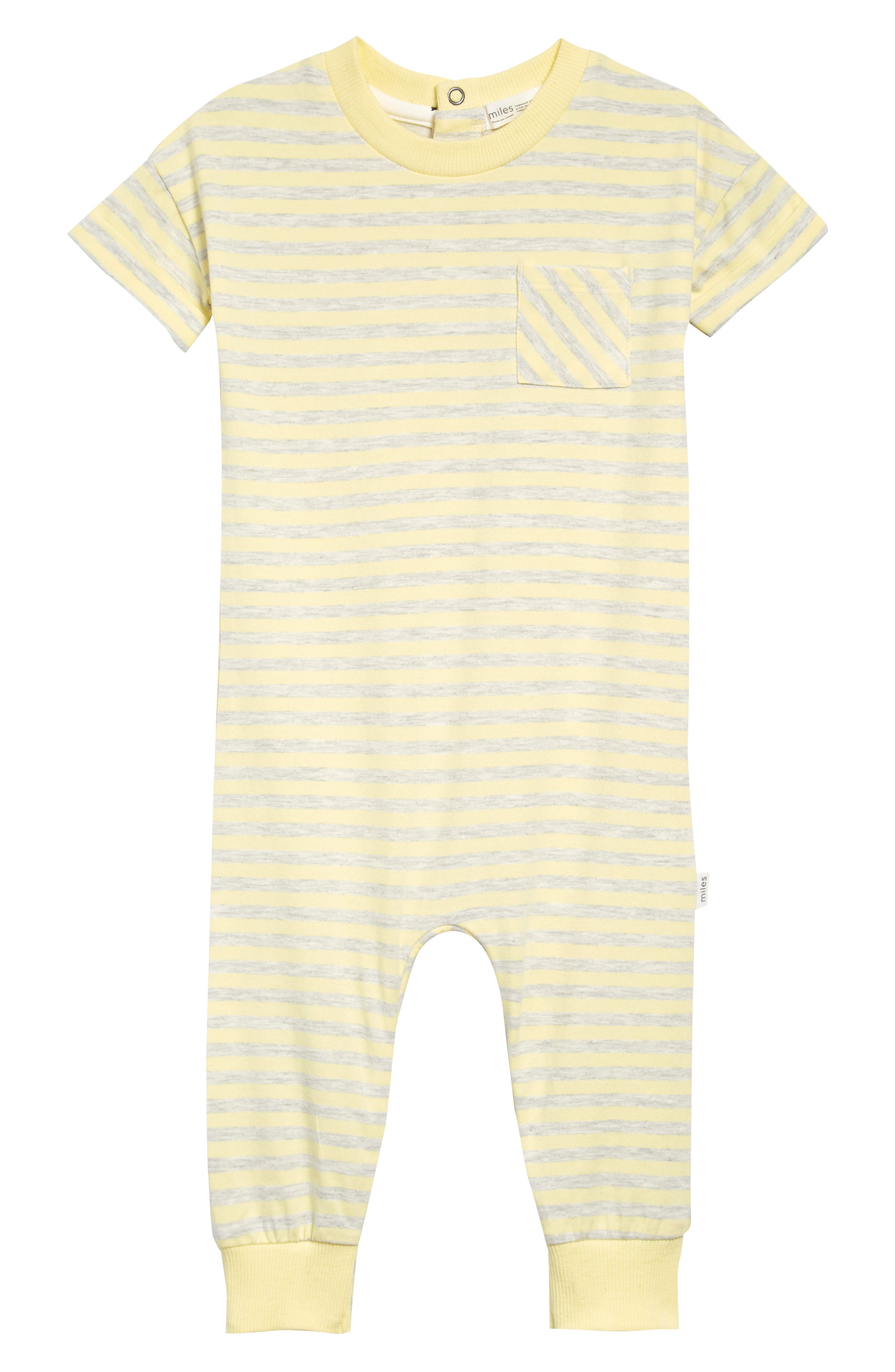Made from soft stretch cotton, this short-sleeve romper patterned in heathered stripes is ready for playtime. Style Name: Miles Baby Stripe Romper (Baby). Style Number: 6082280. Available in stores.