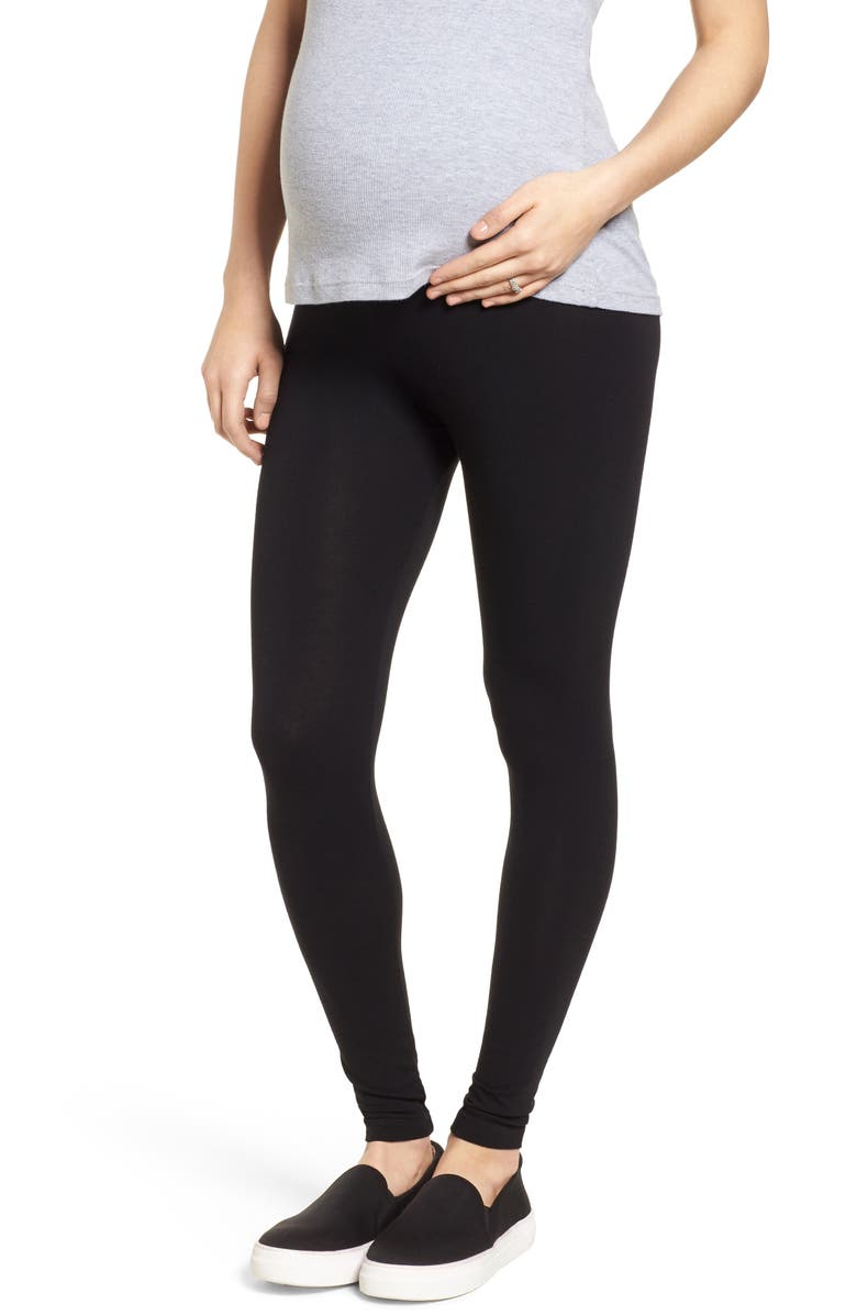 ISABELLA OLIVER Signature Nursing Panel Nursing Leggings, Main, color, CAVIAR BLACK