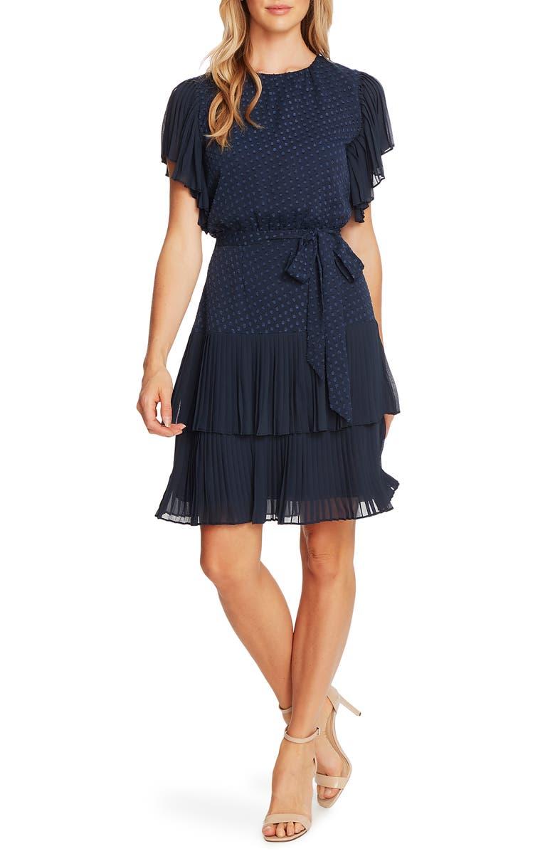 CECE Clip Dot Ruffle Sleeve Fit & Flare Dress, Main, color, 402
