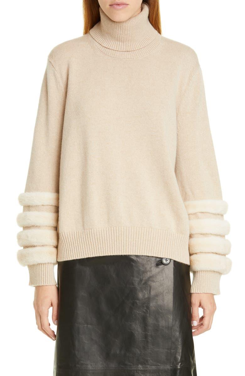 LAFAYETTE 148 NEW YORK Cashmere Turtleneck Sweater with Genuine Mink Fur Trim, Main, color, NUDE MELANGE