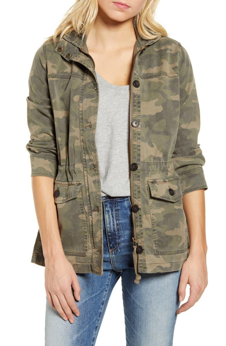 LUCKY BRAND Camo Print Utility Jacket, Main, color, GREEN MULTI