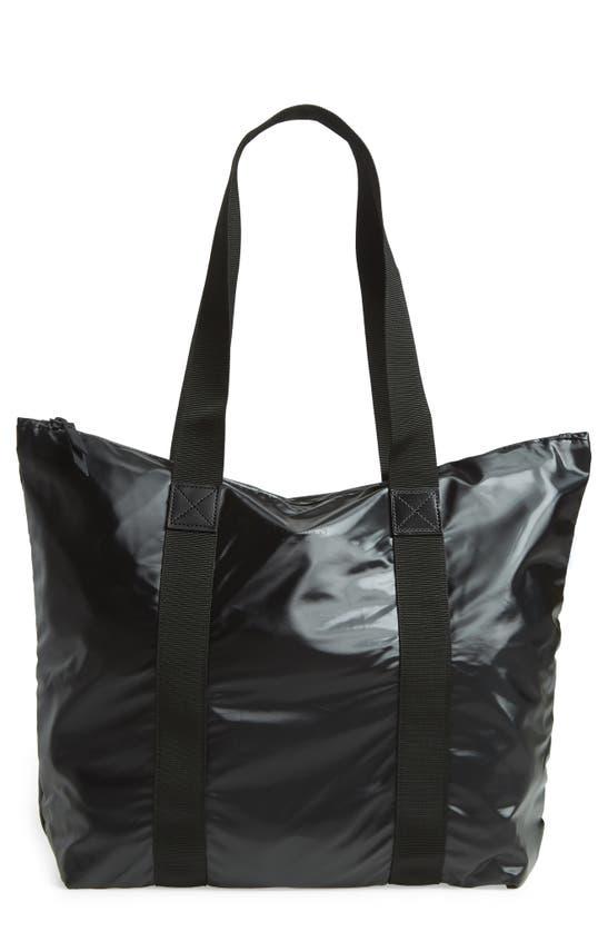 Rains Small Tote Bag In Black In Shiny Black