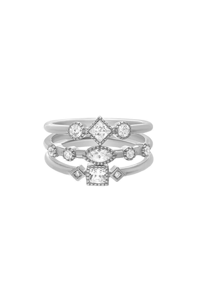 LESA MICHELE Set of 3 Stacking Rings, Main, color, SILVER