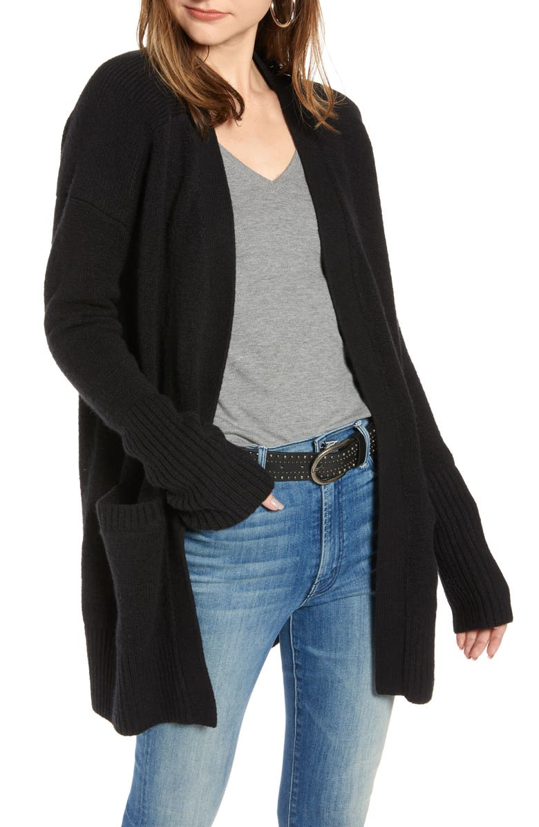 TREASURE & BOND Throw-On Cotton & Wool Blend Cardigan, Main, color, BLACK