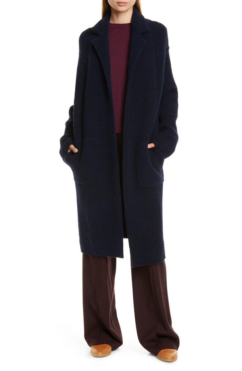 VINCE Notch Collar Cardigan Coat, Main, color, COSTAL HEATHER CHARCOAL