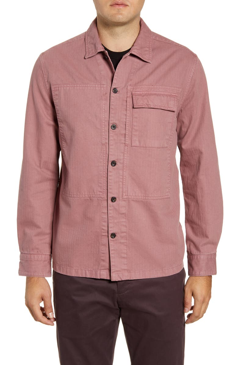 FRENCH CONNECTION Herringbone Cotton Shirt Jacket, Main, color, NOSTALGIA PINK