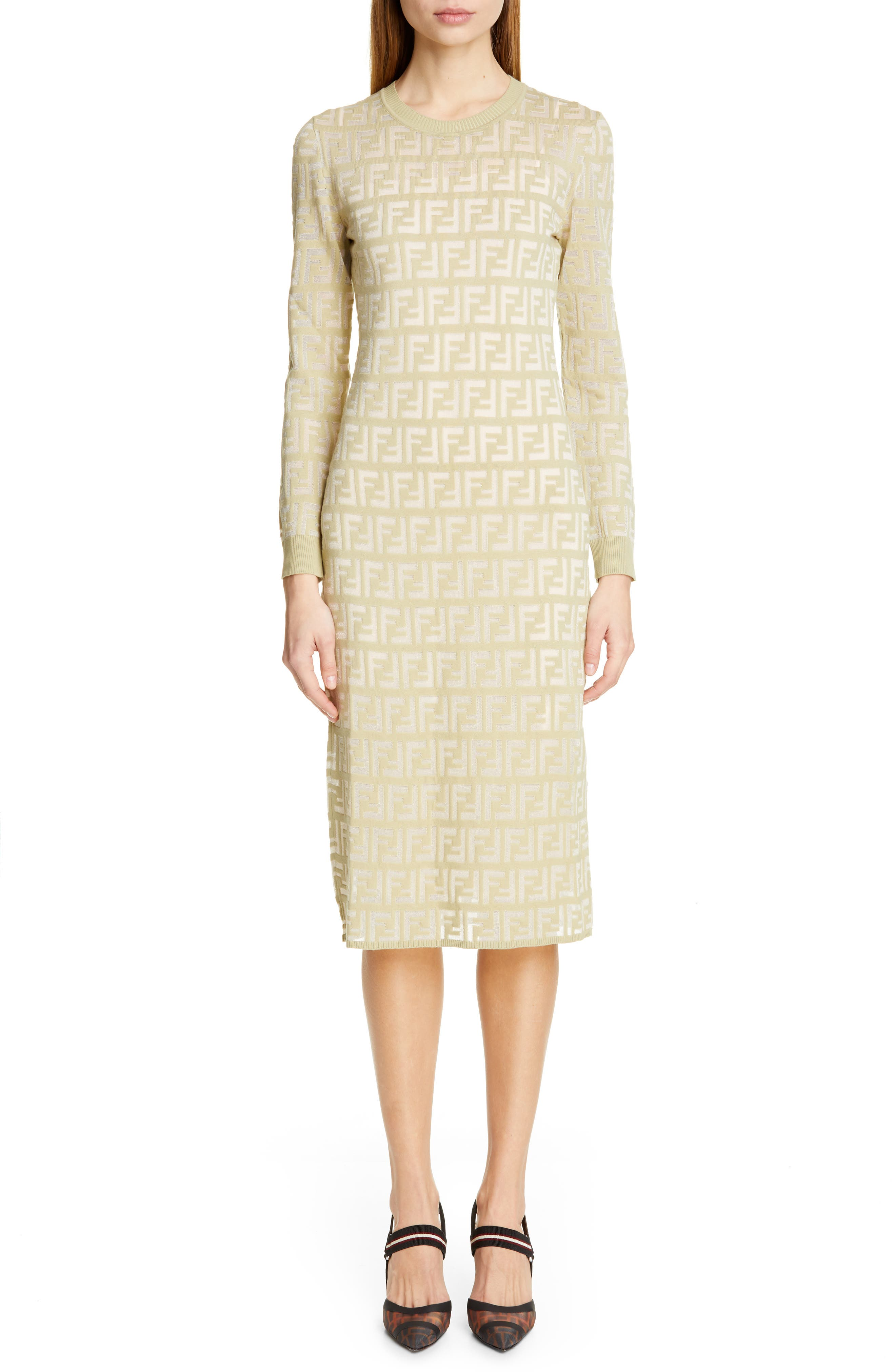 Fendi Long Sleeve Logo Jacquard Sweater Dress, US / 44 IT - Green