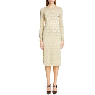 Fendi Long Sleeve Logo Jacquard Sweater Dress, US / 44 IT - Green