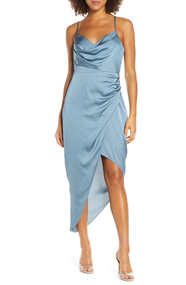 EVER NEW Asymmetrical Cowl Neck Satin Dress, Main, color, DEEP SEAFOAM