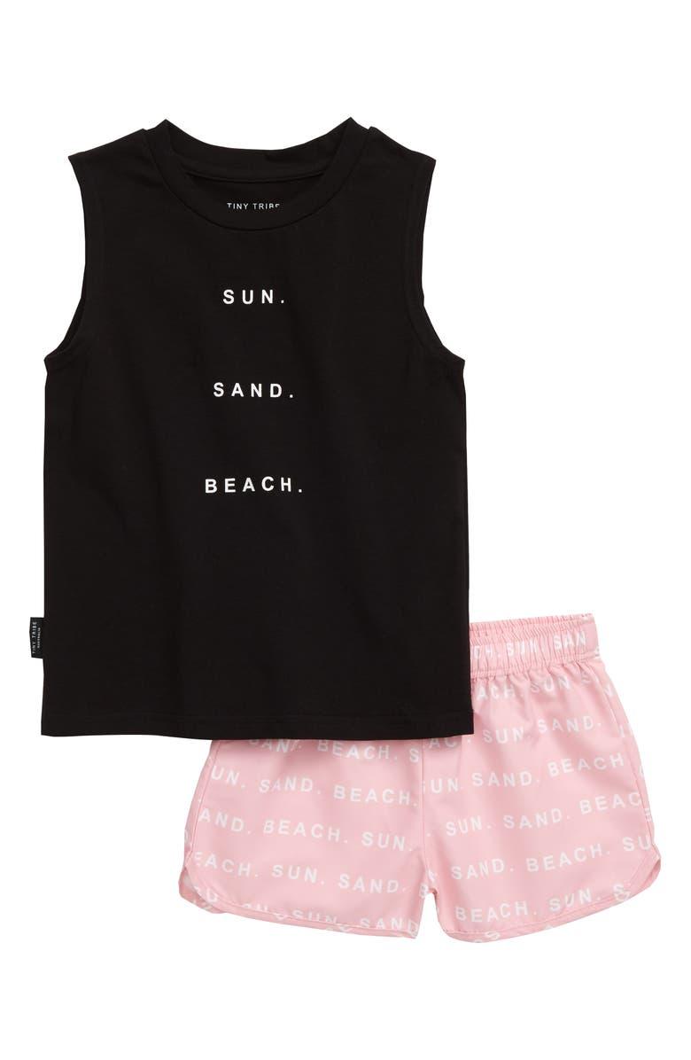 TINY TRIBE Beach Tank & Swim Shorts, Main, color, BLACK / PINK