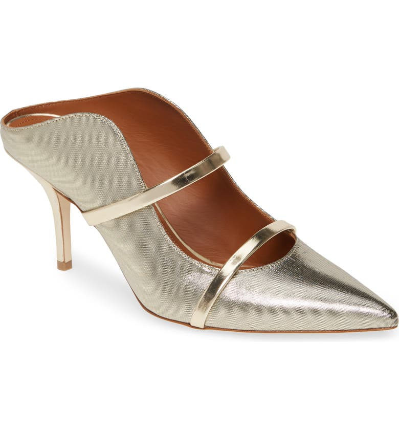 MALONE SOULIERS Maureen Double Band Mule, Main, color, GOLD/ SILVER