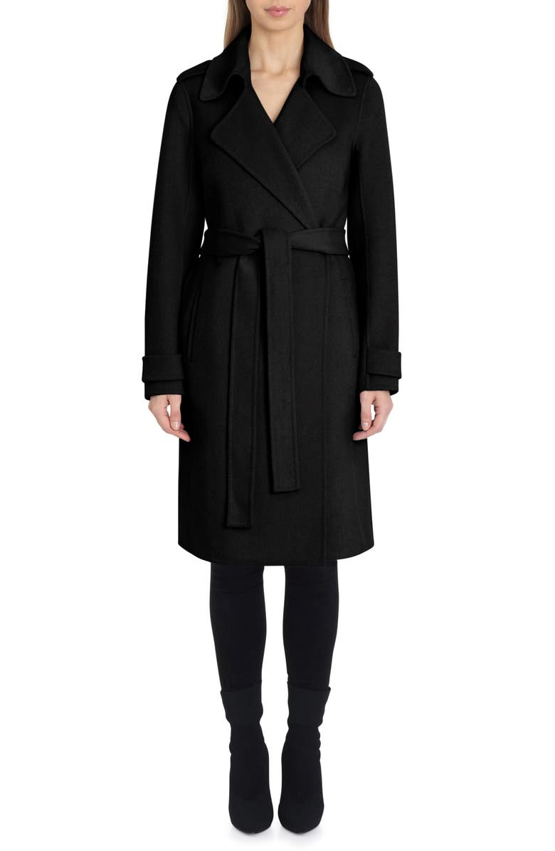 BADGLEY MISCHKA COLLECTION Badgley Mischka Double Face Wool Blend Wrap Front Coat, Main, color, 001