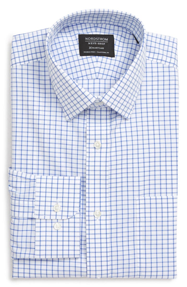 NORDSTROM MEN'S SHOP Smartcare<sup>™</sup> Trim Fit Check Dress Shirt, Main, color, BLUE AMPARO