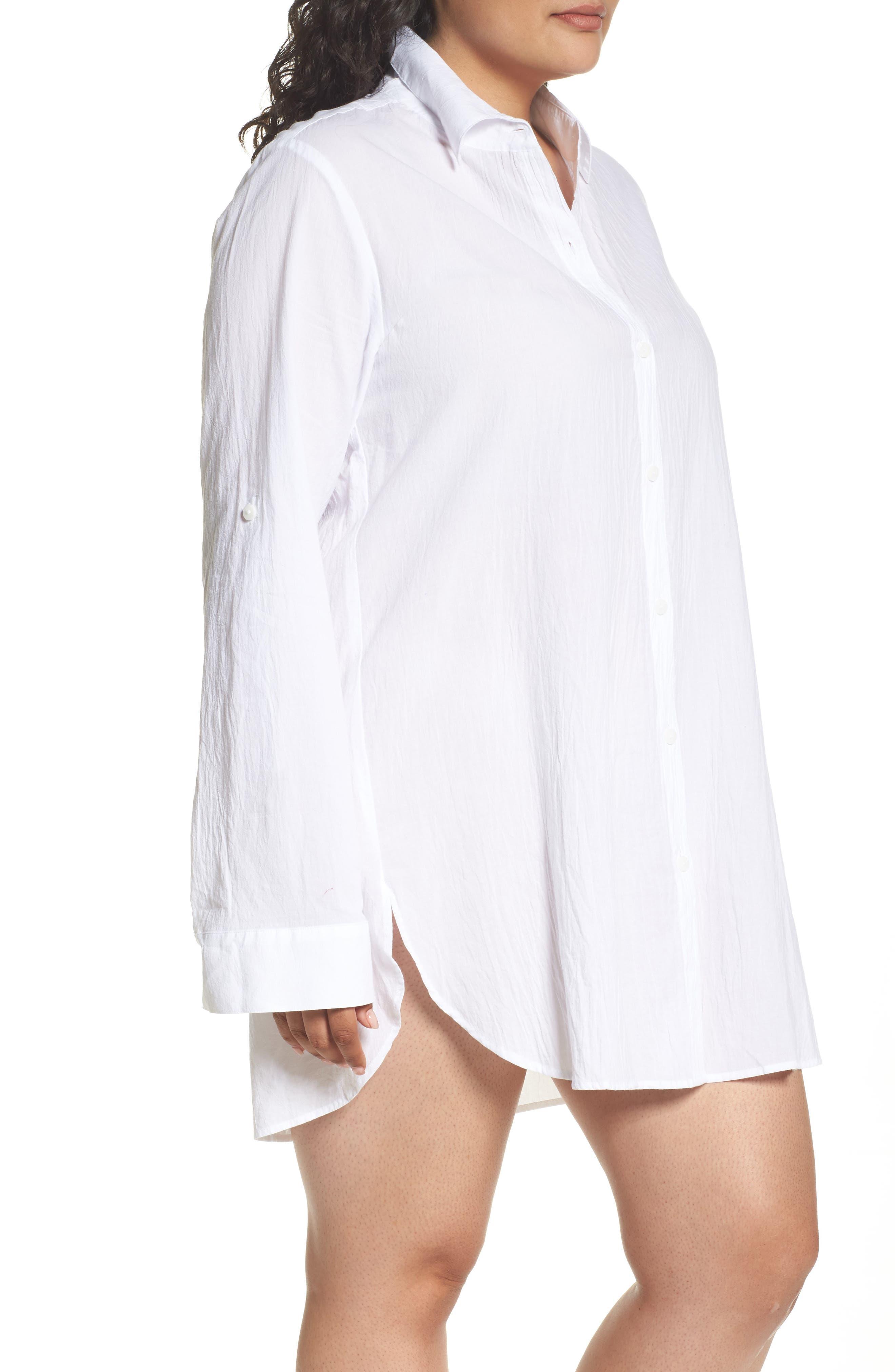 ,                             Boyfriend Shirt Cover-Up,                             Alternate thumbnail 4, color,                             WHITE