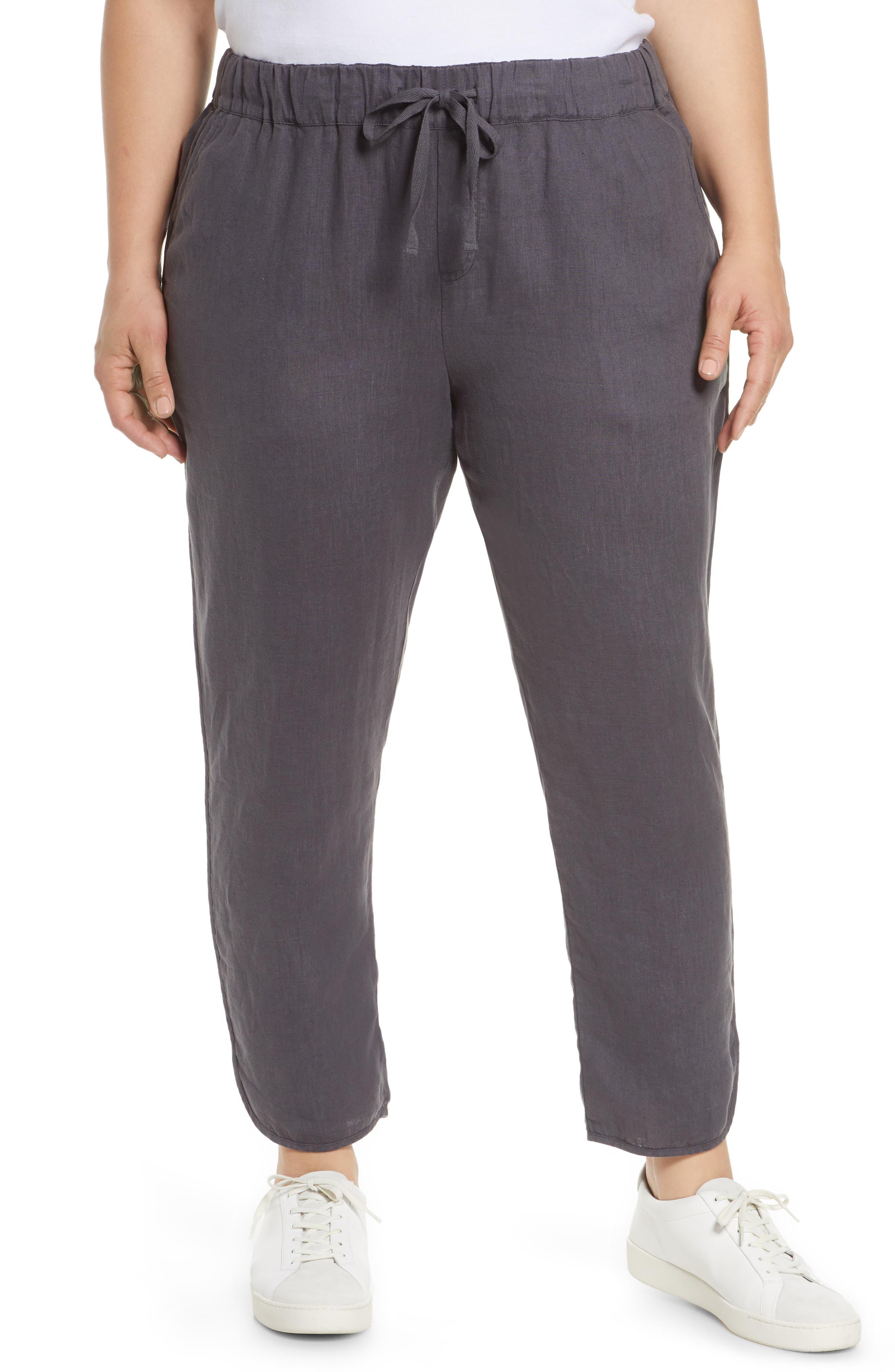 CaslonR Plus  Women's Caslon Track Style Linen Pants,  3X - Grey