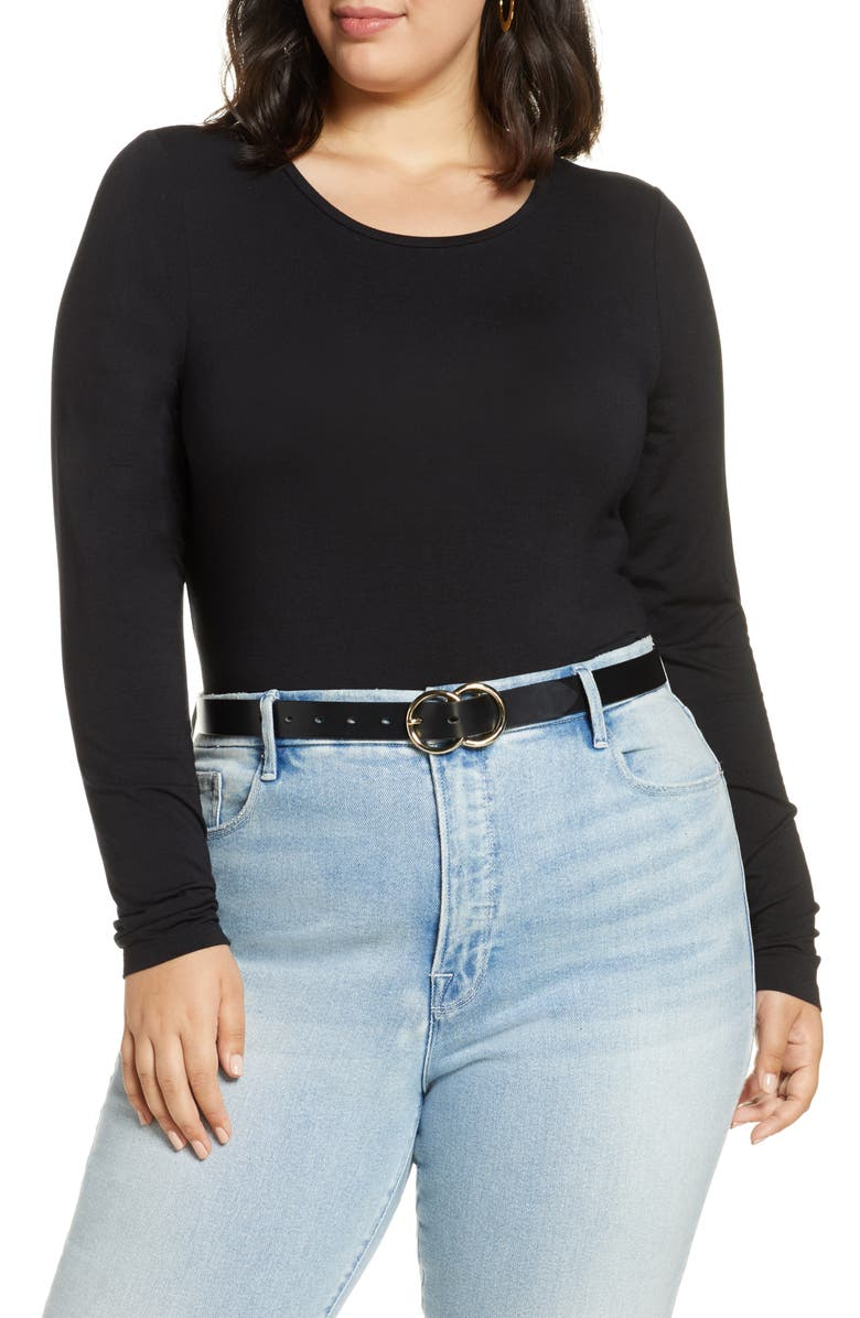 HALOGEN<SUP>®</SUP> Long Sleeve Stretch Tee, Main, color, BLACK