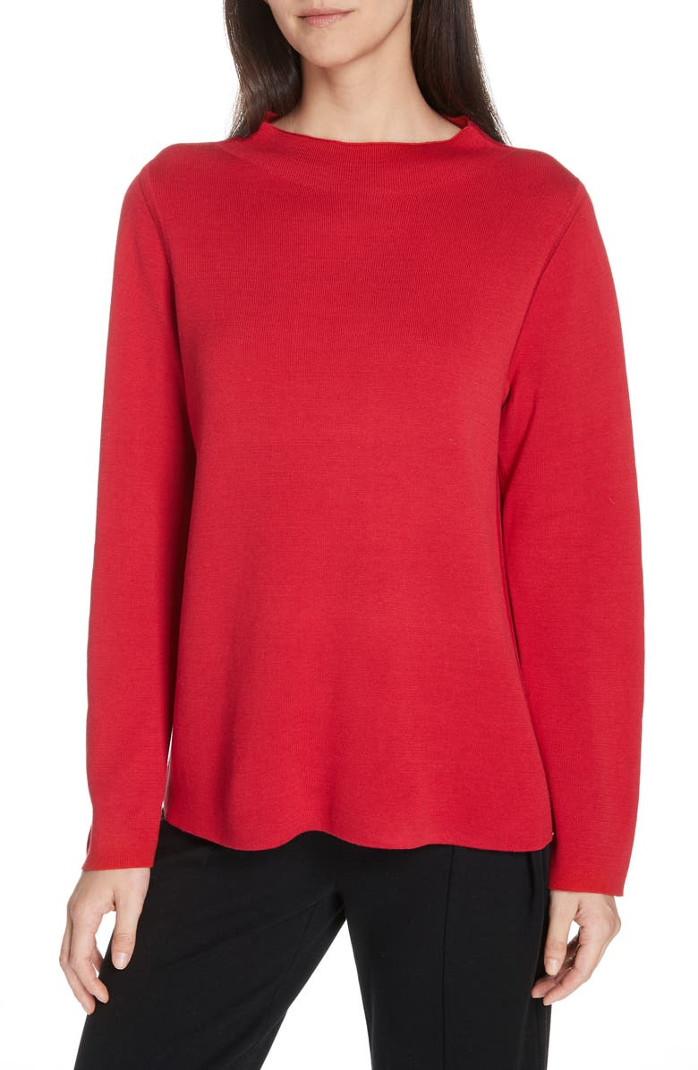 EILEEN FISHER Reversible Silk Blend Sweater, Main, color, LACQUER