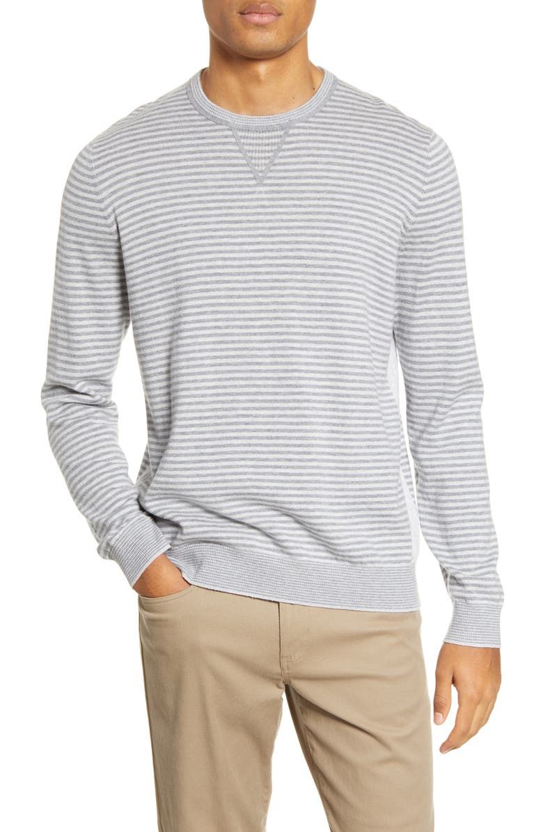VINCE Stripe Crewneck Wool Blend Sweater, Main, color, HEATHER GREY