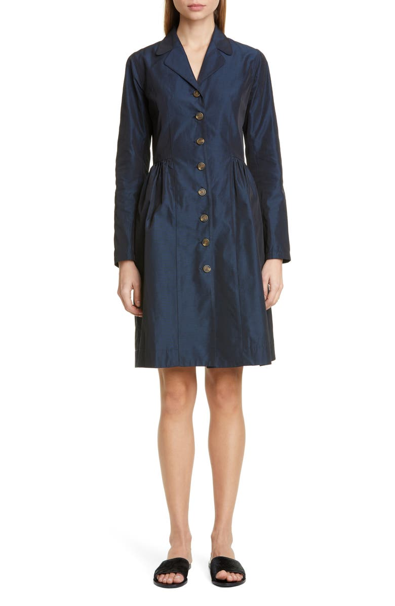 MOLLY GODDARD Maggie Long Sleeve Taffeta Coat Dress, Main, color, 410