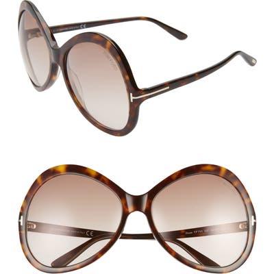 Tom Ford Rose 6m Gradient Oversize Round Sunglasses - Dark Havana/ Gradient Brown