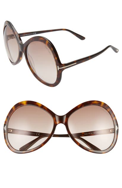 Tom Ford ROSE 63MM GRADIENT OVERSIZE ROUND SUNGLASSES - DARK HAVANA/ GRADIENT BROWN