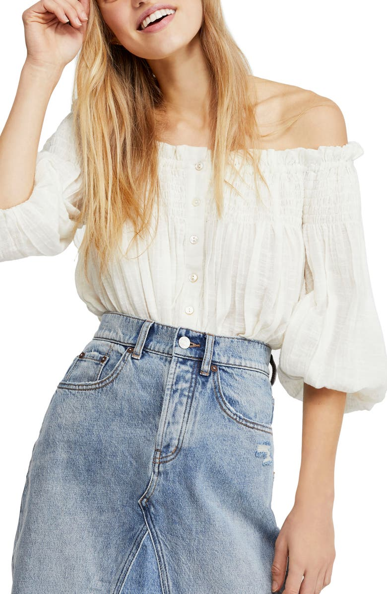 FREE PEOPLE Dancing till Dawn Off the Shoulder Crop Top, Main, color, 100
