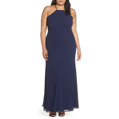 Plus Size Chi Chi London Lace Back Gown, Blue