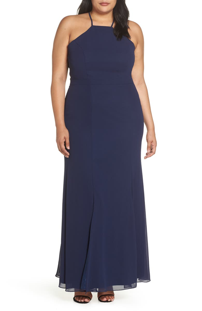 CHI CHI LONDON Lace Back Gown, Main, color, NAVY