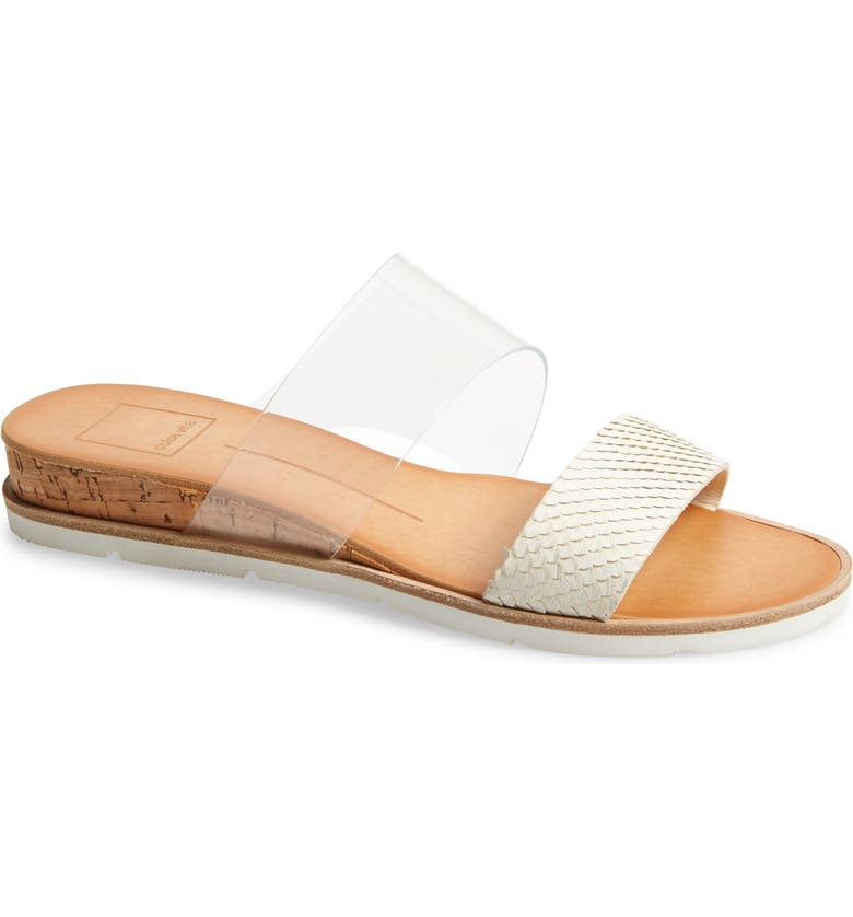 DOLCE VITA Vala Wedge Slide Sandal, Main, color, OFF WHITE VINYL