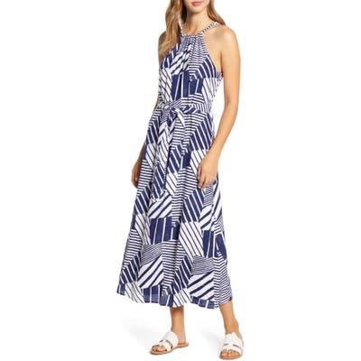 Vineyard Vines Geo Print Halter Neck Maxi Dress, Blue