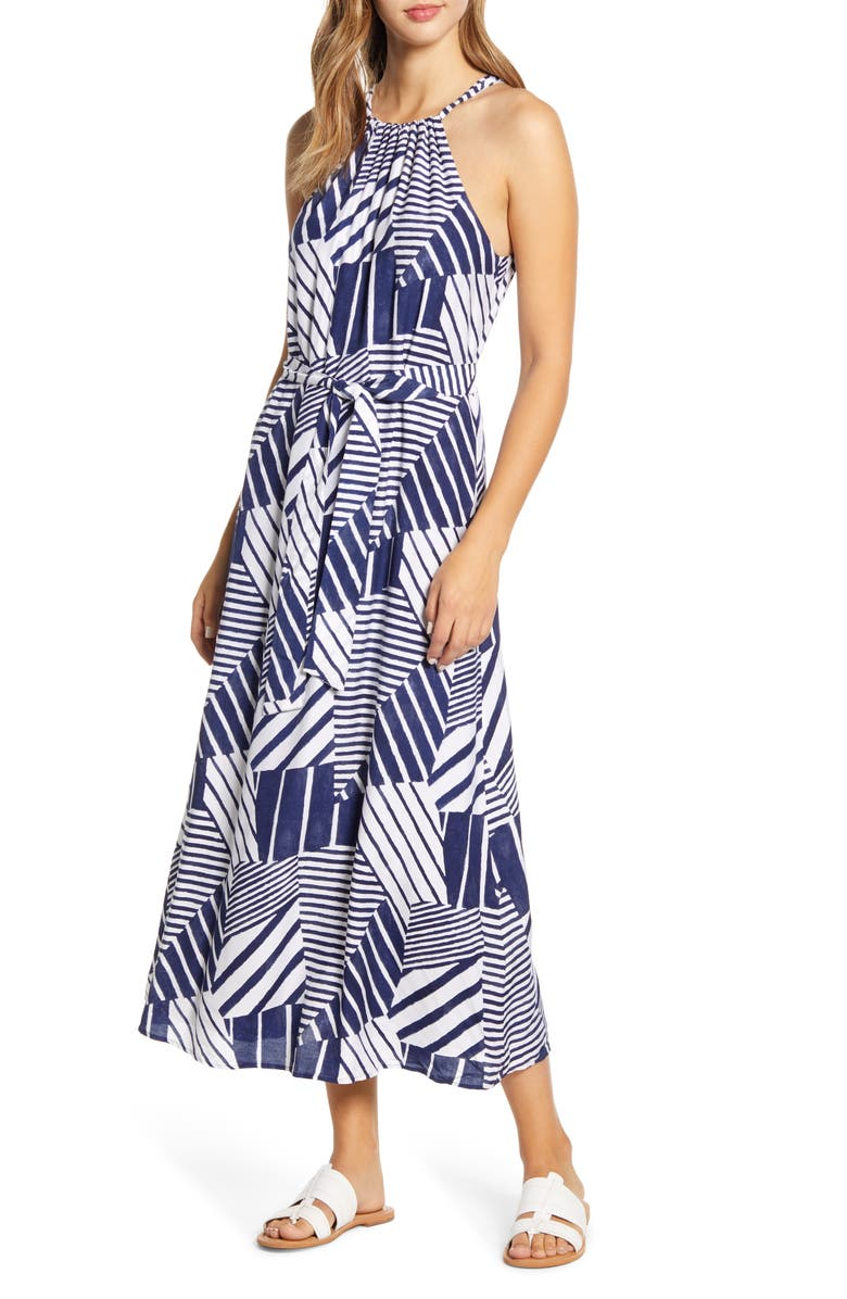 VINEYARD VINES Geo Print Halter Neck Maxi Dress, Main, color, DEEP BAY