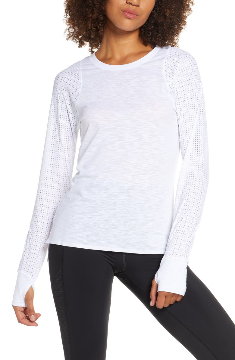 SWEATY BETTY Breeze Long Sleeve Run Tee, Main, color, WHITE MULTI