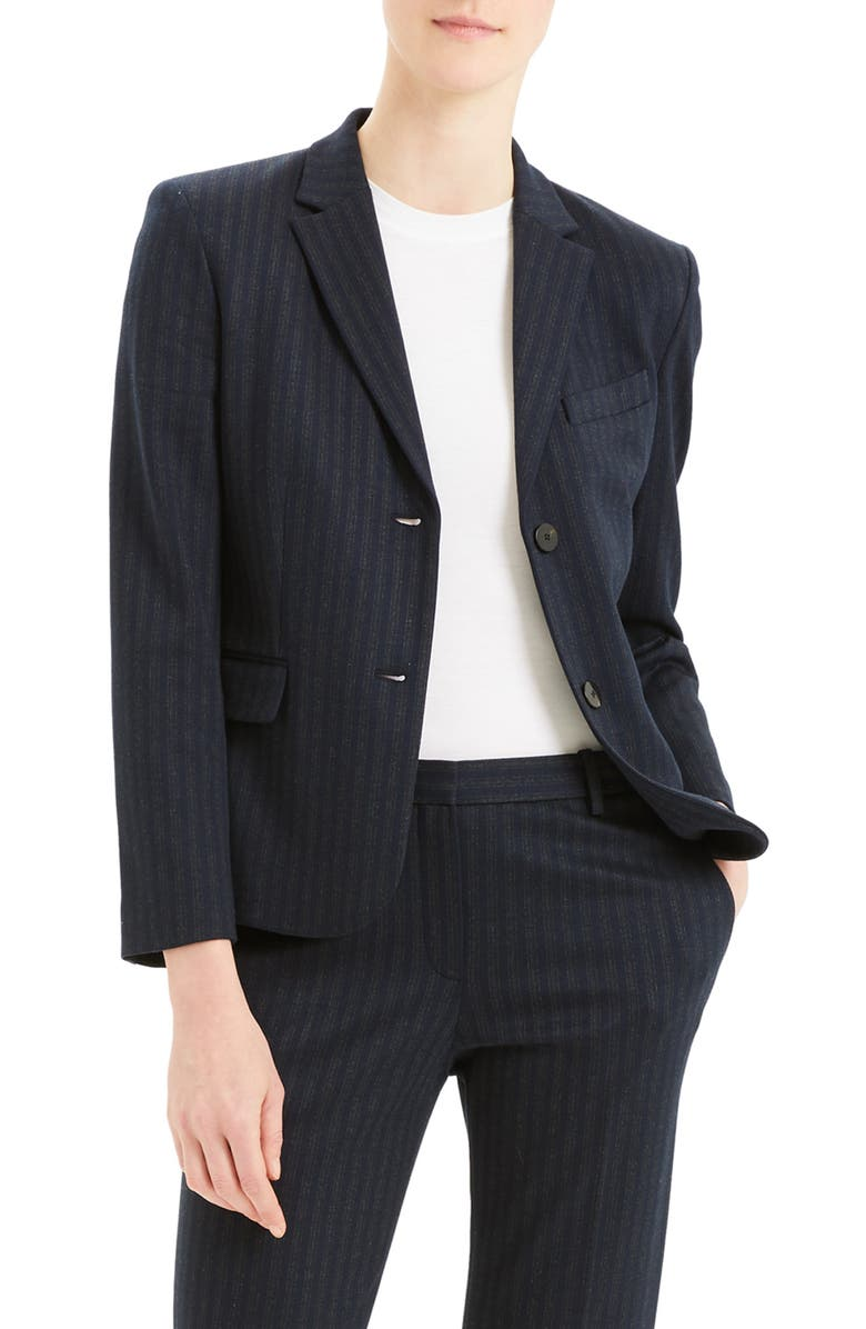 THEORY Stripe Shrunken Blazer, Main, color, 400