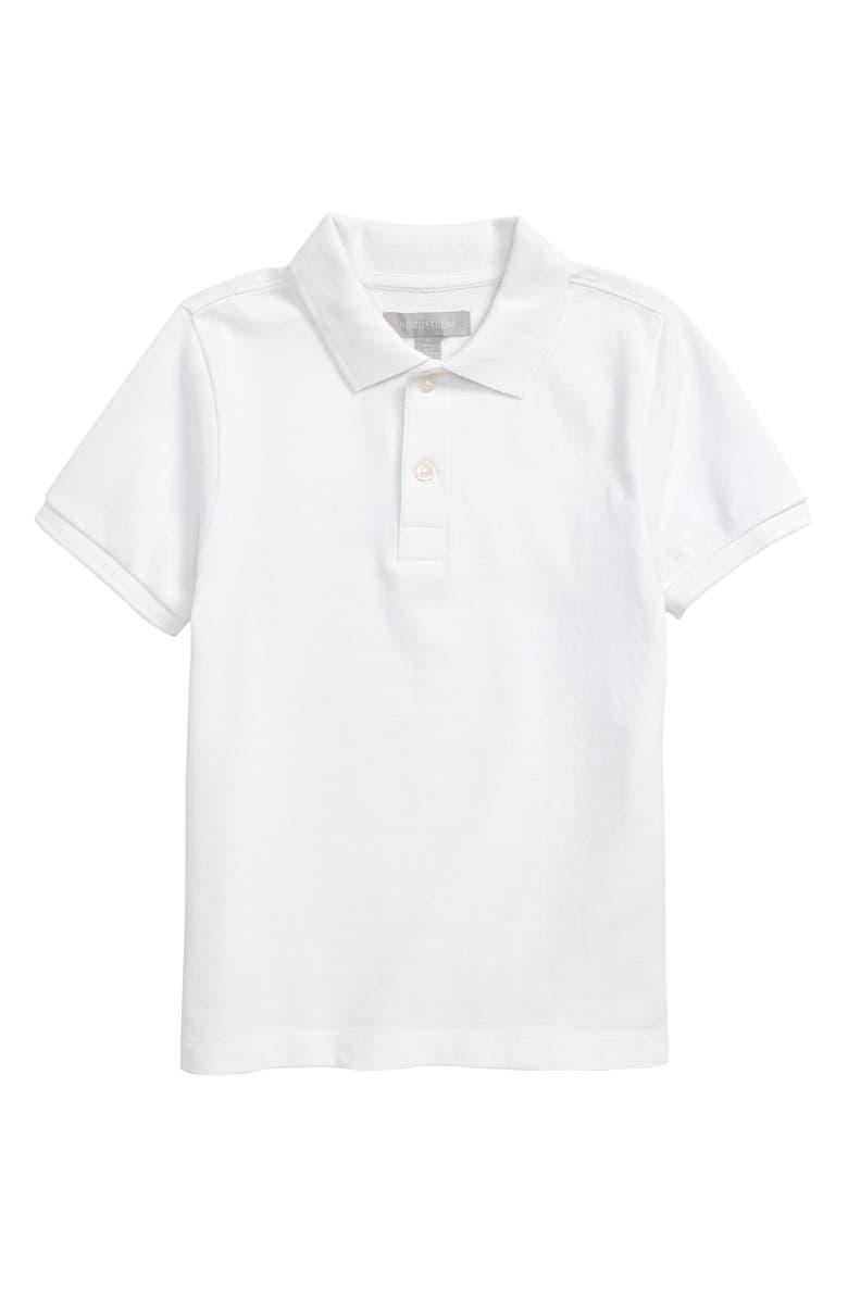 NORDSTROM Short Sleeve Piqué Polo, Main, color, WHITE